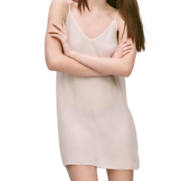 Aritzia Wilfred Laurette Slip Dress 100% Silk Nude